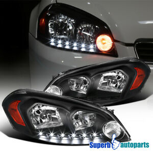 2006 2015 Chevy Impala 2006 2007 Monte Carlo Black Headlight Led Lamps Pair