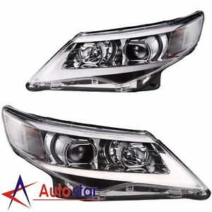 New Usa Led Halo Projector Headlights Pair Set For 2012 2013 2014 Toyota Camry
