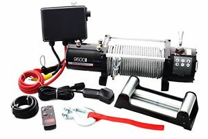 9500lbs Electric Off Road Recovery Winch Kit W Wireless Remote Jeep Tow Trailer