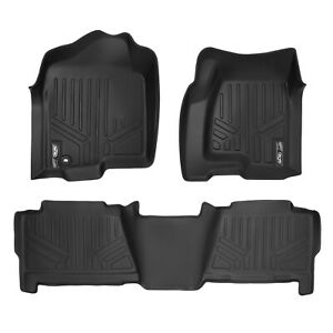 Smartliner Floor Mats Liner Set For Chevy Gmc Cadillac Crew Cab Trucks Black