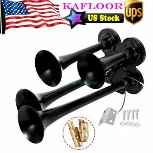 Black Quad 4 Trumpet Air Horn Kit 12 Volt 150db Truck Cars Boat Train