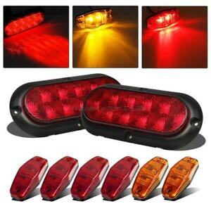 Submersible Truck Trailer Oval Led Light Kit Stop Turn Tail 4red
