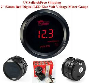 Us 2 52mm Red Digital Led Elec Volt Voltage Meter Gauge Boat Car Auto 0 15v