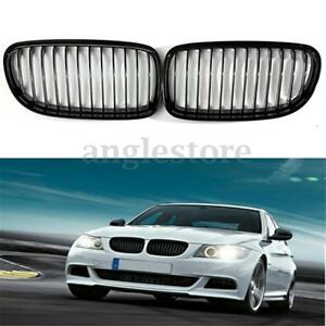 2x Gloss Black Baking Varnish Hood Front Kidney Grille Grill For Bmw E90 09 12