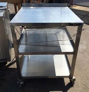 Stainless Steel Work Table On Casters 26 X 31 Heavy Duty