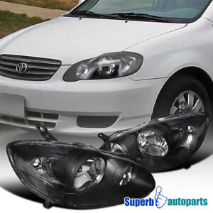 For 2003 2008 Toyota Corolla Jdm Head Lamps Crystal Headlights Black