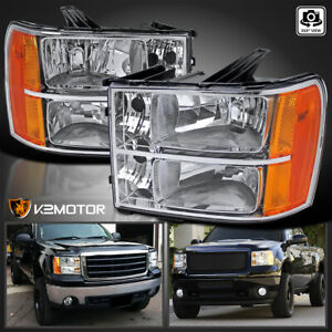 For 2007 2013 Gmc Sierra 1500 2500hd 3500hd Clear Headlights Lamps Leftright Fits More Than One Vehicle