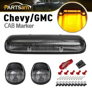 3pc Clear Cab Roof Running Amber Led Lights For 02 07 Chevy Silverado gmc Sierra