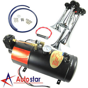 3 Liter 150 Psi 12v Air Compressor And 4 Trumpet Chrome Train Air Horn Truck