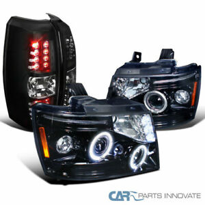 07 12 Chevy Avalanche Smoke Led Halo Projector Headlights Black Led Tail Lights