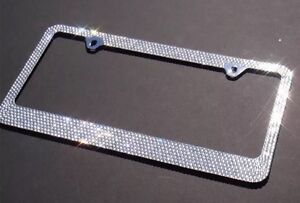 12 Rows White Bling Crystal Rhineston Metal License Plate Frame bling Caps