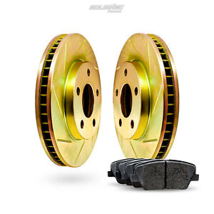 Front Gold Slotted Brake Rotors And Ceramic Pads 2012 2016 Ford Focus