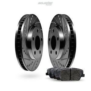 Front Black Drilled Slotted Brake Rotors And Ceramic Pads 2012 2016 Ford Focus
