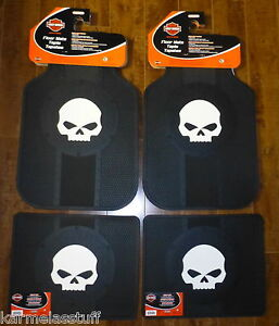 Harley Davidson Willie G Skull Front And Rear Car Truck Rubber Floor Mats New