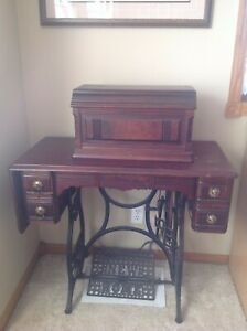 1879 New Home Treadle Sewing Machine Drop Leaf Table