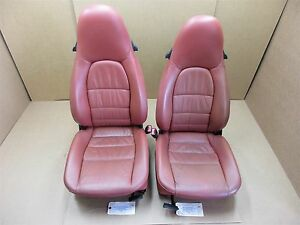 02 Boxster S Rwd Porsche 986 L R Red Leather 2 Way Seats Driver Passenger 32 869