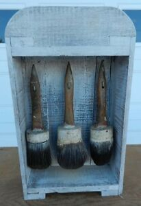 Whitewashed Old Display Shadow Box 3 Matching Antique Paint Brushes Big Sale