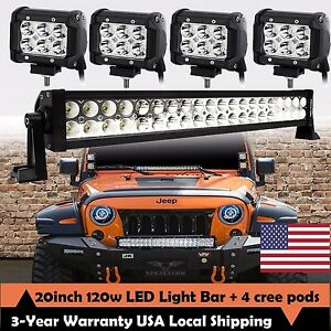20inch Led Light Bar Spot Flood Combo Cree 4x 4 Pods Ford Suv 4wd Jeep Ute 24