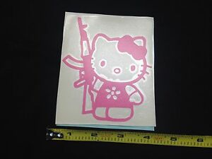 Hello Kitty Ak Pink Sticker Decal Car Laptop Guns Shooting Rights Ar Window Jdm