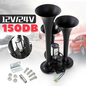150db Super Loud Triple 3 Trumpet Air Horn Compact 12v 24v Auto Truck Train Boat