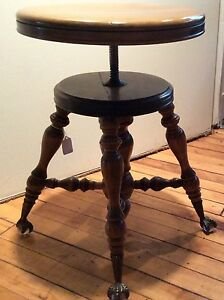 Antique Oak Piano Stool Bench Glass Ball Cast Iron Claw Feet 1900 S