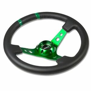 Nrg Limited Steering Wheel 350mm Green Center Black Leather 3 Deep Dish