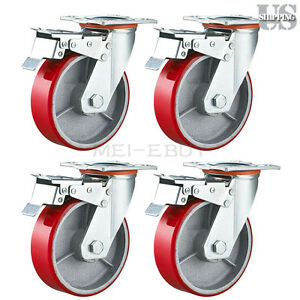 Set Of 4 Red Wheels Caster 5 Heavy Duty Wheel Iron Hub Swivel Total Lock Brake