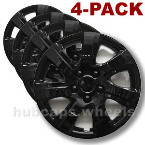 Premium Black Hubcaps Fit Toyota Camry 2010 2011 16 inch Replacement Set Of 4