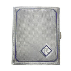 Vintage Art Deco 900 Silver Cigarette Case Blue Enamel Monogrammed Germany