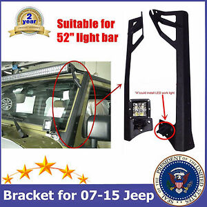 Upper Mounting Brackets 07 16 Jeep Wrangler Jk 52 inch 300w Led Light Bar Steel