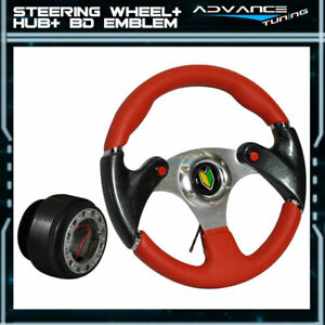 For Toyota 320mm Red Pvc Leather 6 hole Racing Steering Wheel Hub Adapter Horn