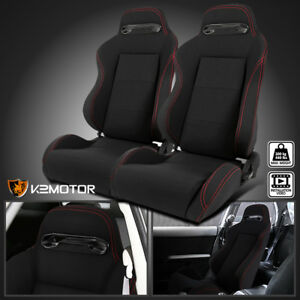 2x Red Stitch Black Cloth Reclinable Sports Bucket Racing Seats Left right