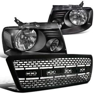 For 2004 2008 Ford F150 Headlights Lamps Black Raptor Style Hood Grille