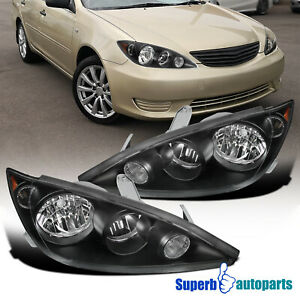 For 2005 2006 Toyota Camry Replacement Black Headlights Driving Head Lamp Lh Rh
