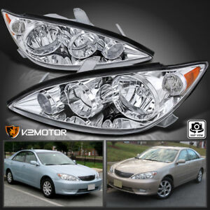 For 2005 2006 Toyota Camry Clear Headlights Head Lamps Left Right Pair 05 06