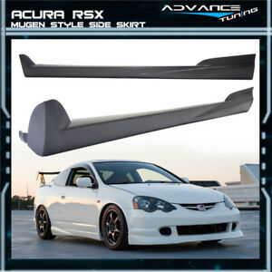 Fits 02 06 Acura Rsx Mugen Style Unpainted Black Side Skirt Extensions Pu Pair