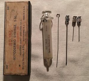 B d Yale Glass Matched Hypodermic Syringe Eccentric Tip In Original Box 51223