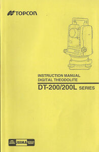 Topcon Digital Theodolite Dt 200 200l Series Instruction Manual