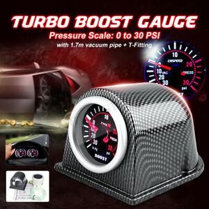 Universal 2 52mm Car Led Turbo Boost Gauge Meter Pointer Psi Pod Smoke Usa