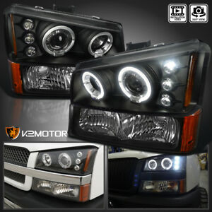 2003 2006 Chevy Silverado Halo Led Projector Headlights Black bumper Signal Lamp