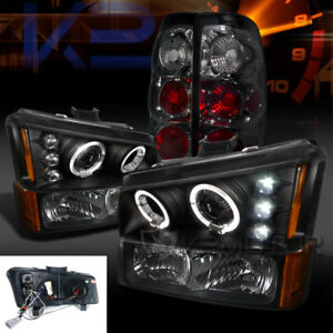 03 06 Silverado Black Halo Projector Headlights bumper Lamps smoke Tail Lights