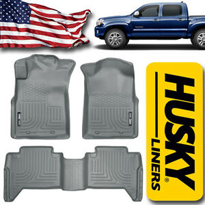 Husky Liners 2005 2015 Toyota Tacoma Double Cab Floor Mats Front And Rear Gray