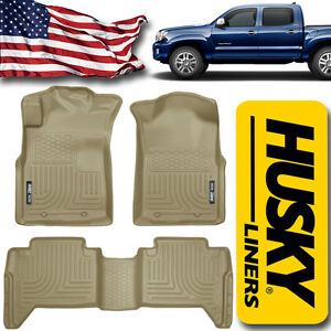 Husky Liners 2005 2015 Toyota Tacoma Double Cab Floor Mats Front And Rear Tan