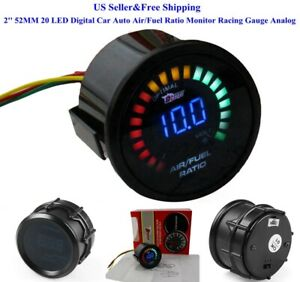 Us 2 52mm 20 Led Digital Car Auto Air Fuel Ratio Monitor Racing Gauge Analog