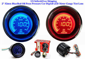 2 52mm Blue red Oil Press Pressure Car Digital Led Meter Gauge Tint Lens Us