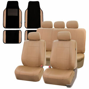 Faux Leather Car Seat Covers For Auto Suv Van With Leather Floor Mats Tan