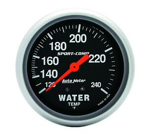 Auto Meter Sport Comp 120 240 Deg F Mechanical Water Temperature Gauge 2 5 8