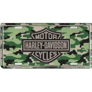 Harley Davidson Camo License Plate Official Green Black Camouflage Logo Sign Tag