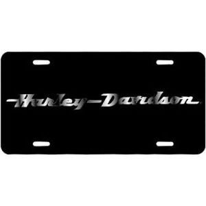 Harley Davidson Mirrored Text Black Laser Acrylic Front License Plate