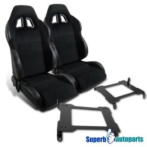 05 15 Mustang Black Pvc Leather Reclinable Racing Seats laser Welded Brackets